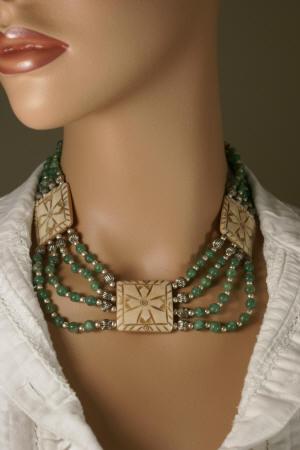 Green Yellow Bone Aventurine Beaded Choker Necklaces 17 Inches