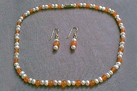 Orange White Pearl Carnelian Beaded Simple-strand Necklaces 17 Inches