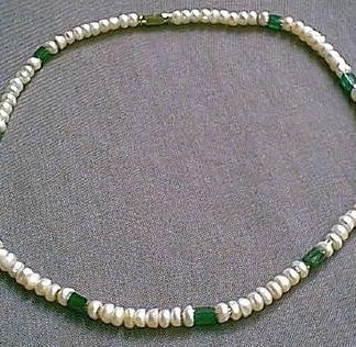 Green White Pearl Aventurine Beaded Necklaces 17 Inches