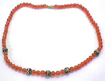 Orange Carnelian Beaded Ethnic Necklaces 17 Inches