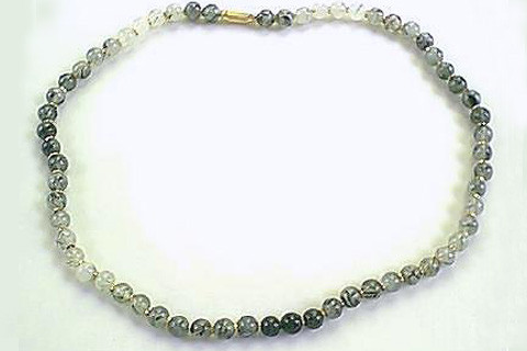 Green White Rotile Beaded Necklaces 17 Inches