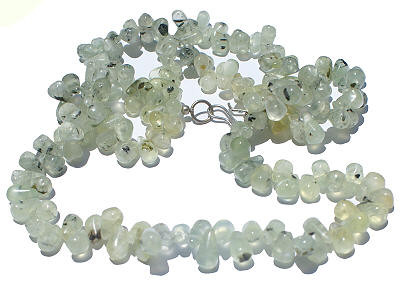 Green White Prehnite Beaded Drop Necklaces 24 Inches