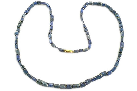 Blue Lapis Lazuli Beaded Mens Necklaces 17 Inches