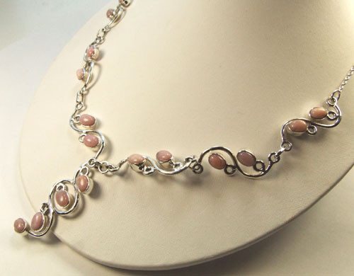 Pink Opal Silver Setting Necklaces 17 Inches