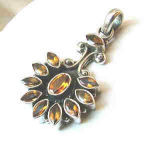 Yellow Citrine Silver Setting Flower Pendants 1.5 Inches