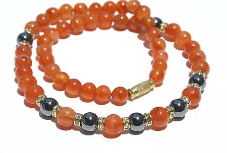 Orange Carnelian Hematite Beaded Halloween Necklaces 17 Inches