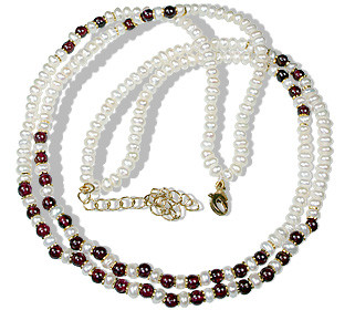 Red White Pearl Garnet Beaded Multistrand Necklaces 16 Inches