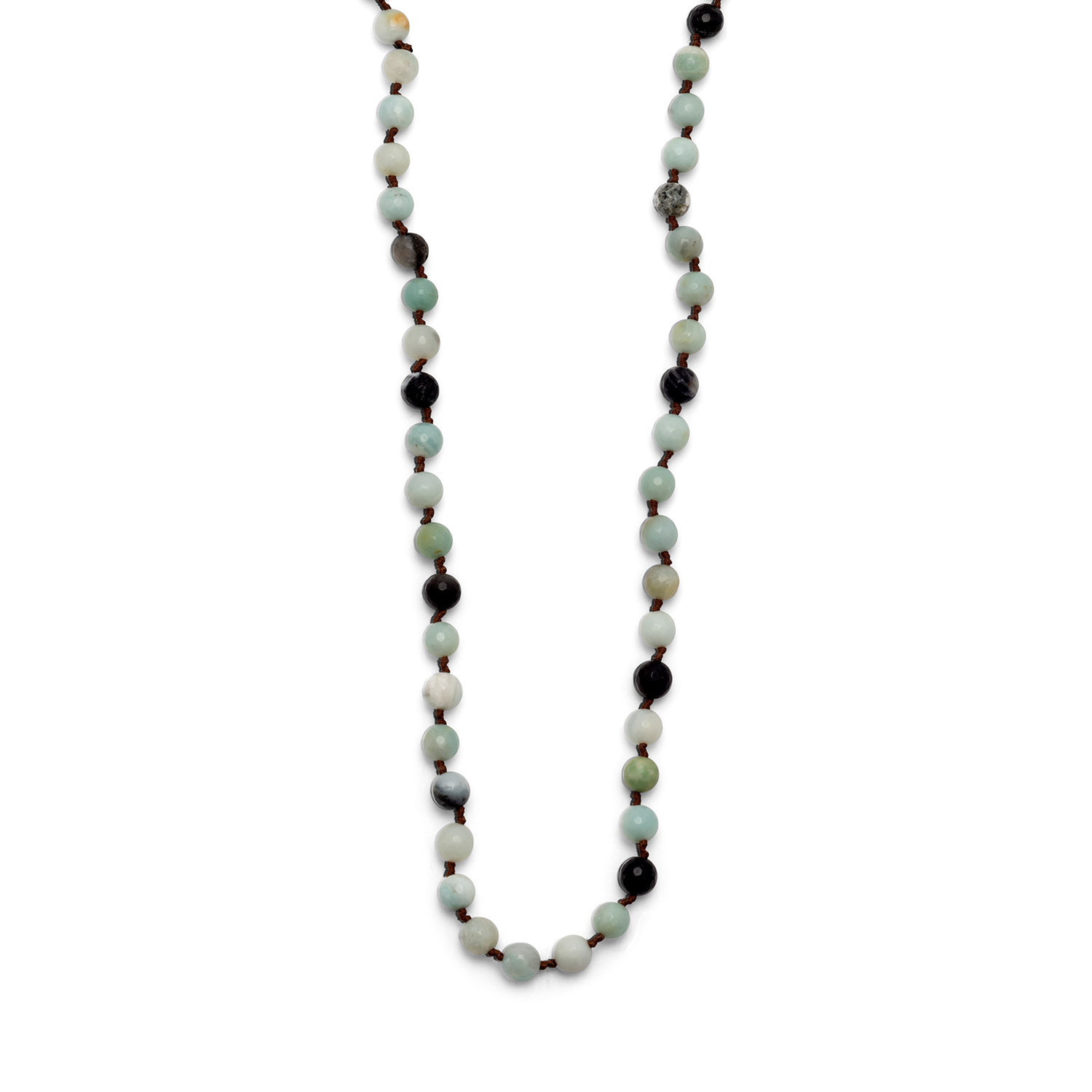 Faceted Beaded Amazonite Necklace Knotted 38 inches