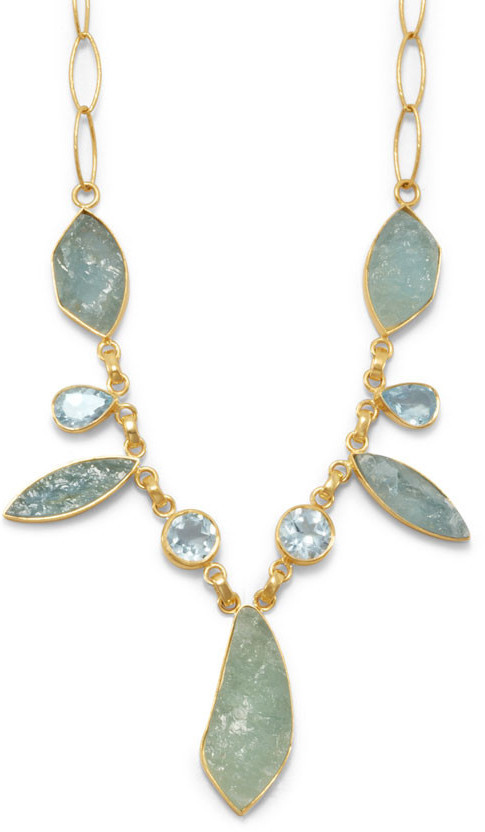 Aquamarine and Blue Topaz Necklace Gold Plated