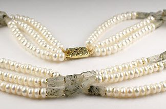 Green White Pearl Rotile Beaded Multistrand Necklaces 17 Inches