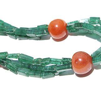 Green Orange Aventurine Carnelian Beaded Necklaces 18 Inches