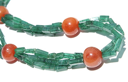 Green Orange Aventurine Carnelian Beaded Necklaces 18 Inches