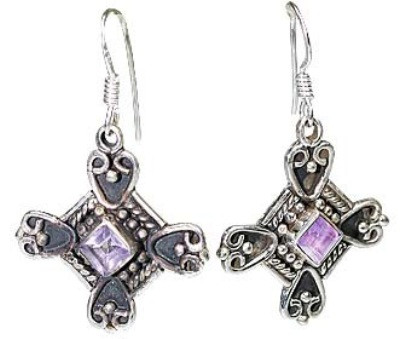 Purple Amethyst Silver Setting Earrings 1.25 Inches
