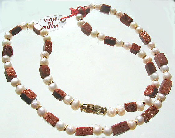 Brown Red White Goldstone Pearl Beaded Necklaces 17 Inches