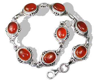 Orange Carnelian Silver Setting Bracelets 9 Inches