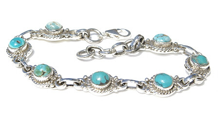 Blue Turquoise Silver Setting American-southwest Bracelets 6.5 Inches