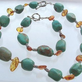 Blue Orange Turquoise Amber Beaded Chunky Necklaces 16 Inches