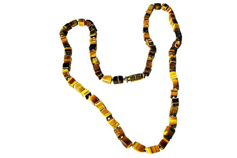Brown Tiger Eye Beaded Simple-strand Necklaces 24 Inches