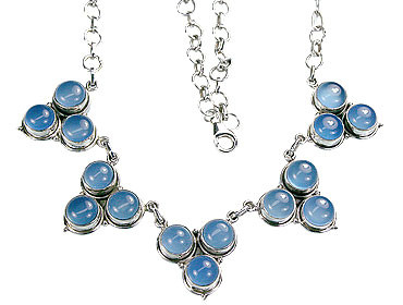 Blue Chalcedony Silver Setting Necklaces 18 Inches
