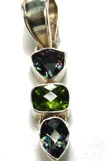 Green Multi Mystic Quartz Silver Setting Pendants 2 Inches