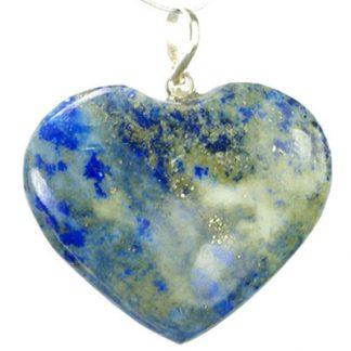 Blue Green Lapis Lazuli Beaded Heart Pendants 1 Inches