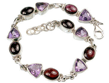 Faceted Amethyst And Garnet Bracelet