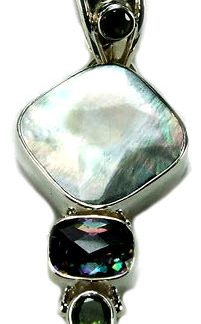 Blue Green White Mother-of-pearl Mystic Quartz Silver Setting Art-deco Chunky Gothic-medieval Pendants 2.5 Inches