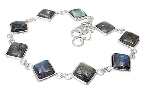 Gray White Labradorite Silver Setting Bracelets