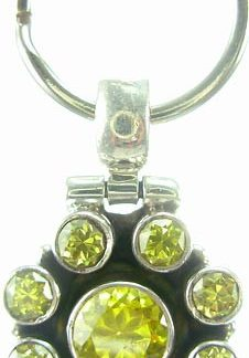 Green Cubic Zirconia Silver Setting Pets Pendants 1.5 Inches