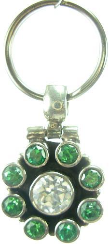 Clear/ Green Cubic Zirconia Silver Setting Pets Pendants