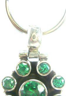 Green Cubic Zirconia Silver Setting Pets Pendants