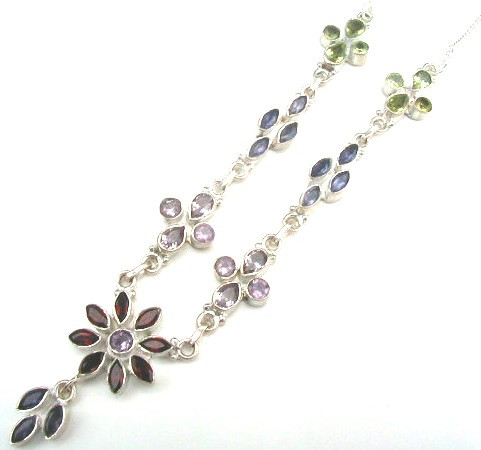 Green Purple Red Garnet Multi-stone Silver Setting Flower Necklaces 18 Inches