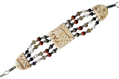 Multi-color Bone Multi-stone Beaded Ethnic Bracelets 7.5 Inches