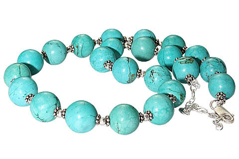 Blue Turquoise Beaded Necklaces 19 Inches