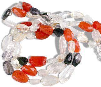Multi-color Multi-stone Beaded Multistrand Necklaces 15 Inches