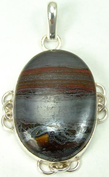 Black Red Tiger Iron Silver Setting Pendants 1.75 Inches