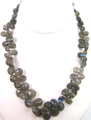 Gray Labradorite Beaded Necklaces 17 Inches