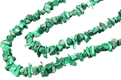 Green Malachite Beaded Chipped Necklaces 36 Inches