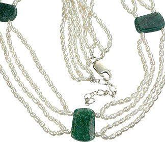 White Multi-color Pearl Aventurine Beaded Classic Necklaces 17.5 Inches