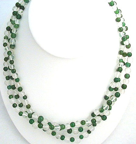 Green Aventurine Crystal Beaded Multistrand Necklaces 17 Inches