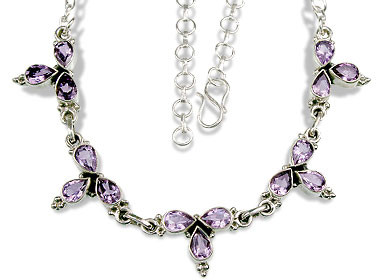 Purple Amethyst Silver Setting Classic Necklaces 15.5 Inches