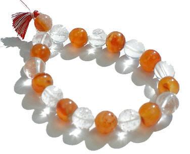 Orange Carnelian Beaded Stretch Bracelets 6 Inches