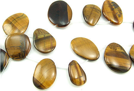 Brown Tiger Eye Beaded Tear-drop Beads 22 Inches