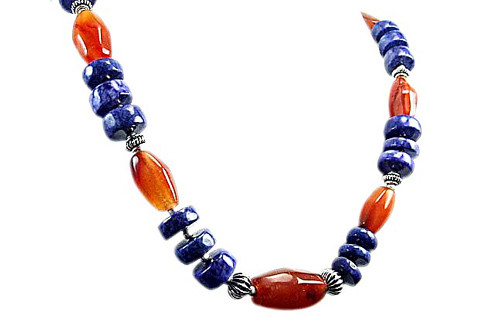 Blue Orange Carnelian Lapis Lazuli Beaded Chunky Necklaces 17 Inches