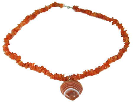 Orange Carnelian Onyx Beaded Chipped Necklaces 17 Inches