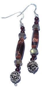 Brown Tiger Eye Garnet Beaded Earrings 30 Inches