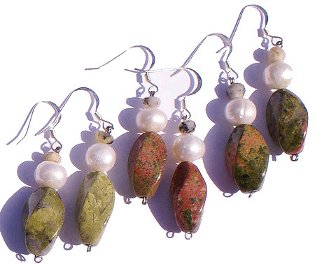 Green Orange Unakite Pearl Beaded Earrings 26 Inches