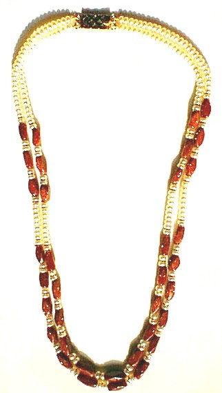 Orange White Goldstone Beaded Necklaces