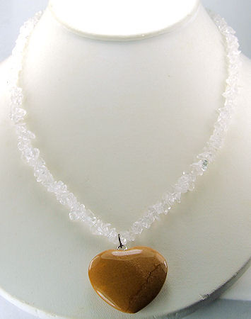 Brown White Crystal Jasper Beaded Pendant Necklaces 400 Inches