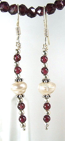 Red White Garnet Pearl Beaded Earrings 26 Inches